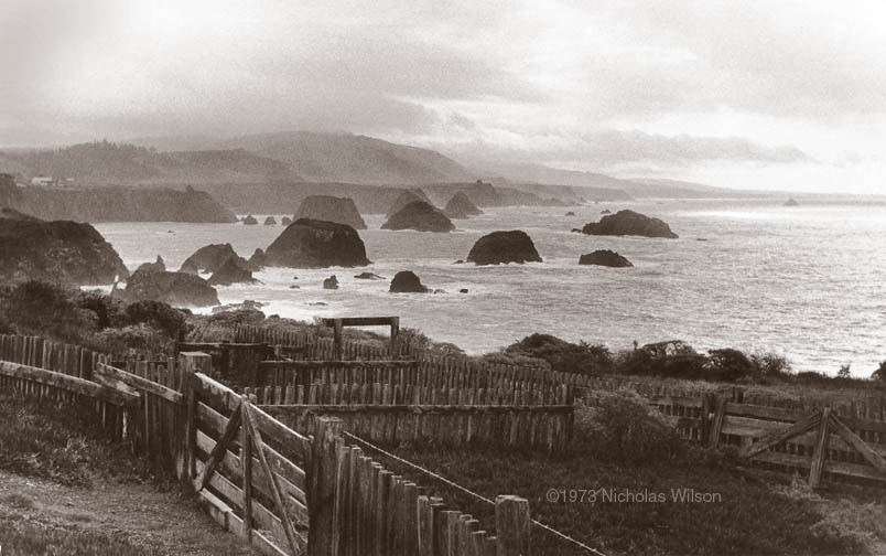 Classic view of the Mendocino Coast at Cuffey's Cove looking south to Point Arena. Photo ©1973 Nicholas Wilson.